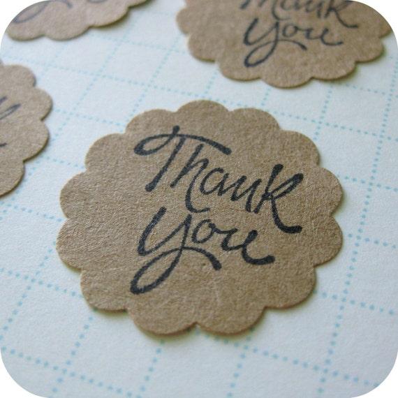 12 Round Scallop Edge Kraft Paper THANK YOU Stickers