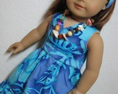 Aqua Tropical Print Dress, Scarf, Necklace and Shoes, Fits American Girl 18 Inch Dolls