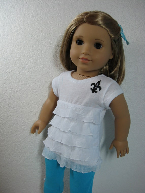 18 inch Doll Clothes American Girl Ruffled Tee Capri Outfit