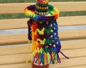 Sombrero and Serape for your hot sauce, Ole, crocheted, 2 piece set