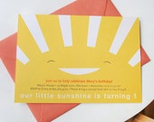 You are my Sunshine kids birthday party invitations, DIGITAL FILE