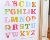 Patterned alphabet print for baby girl nursery, READY TO SHIP, Large