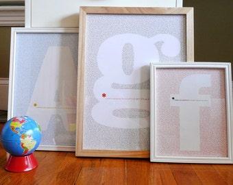 I Love Typography Print modern nursery initial wall art poster custom - 8x10