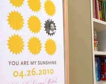 You are my sunshine modern wall art with photo, CUSTOM, 8x10