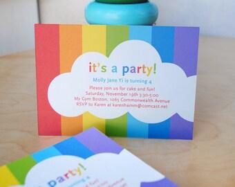 Rainbow invitation with cloud, DIGITAL FILE