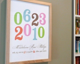Wedding print or birth date nursery print with playful numbers, CUSTOM, LARGE