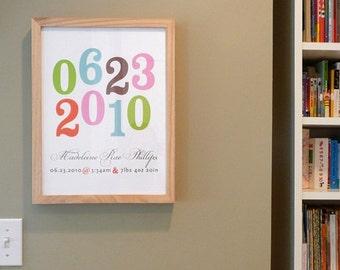 Nursery art print or wedding print with playful numbers, CUSTOM, 8x10