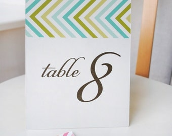 Chevron Table Numbers - modern graphic wedding table cards - custom colors - SET OF 10