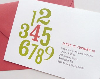 Kids Birthday Party Invitations with Number, modern typography, numbers, DIGITAL FILE