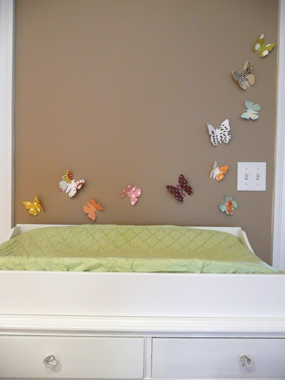 Nursery Wall Decor Butterflies : Butterfly wall art modern nursery decor kids by
