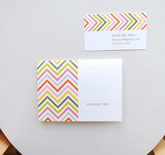 Personalized Chevron Stationery Note Cards, modern thank you note cards, hostess gift, housewarming gift, kids stationery, DIGITAL FILE