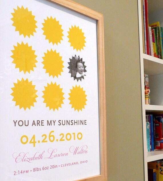You are my sunshine nursery art print, CUSTOM, LARGE