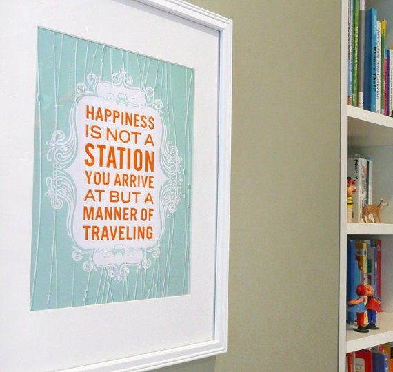 Happy Travels inspirational quote print poster - ready to ship - 5x7