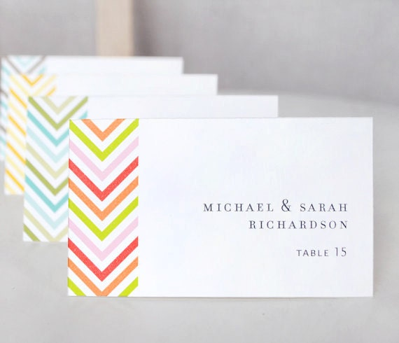 Chevron Place Cards, escort cards, wedding stationery, signage, tags, SET OF 50 blank, tented cards
