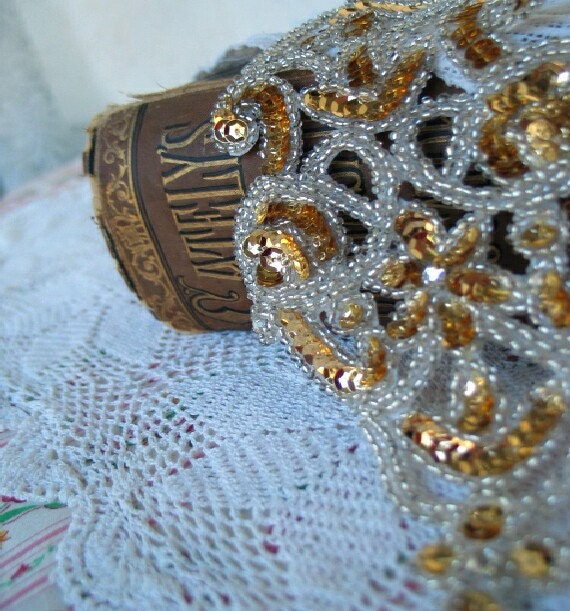 Vintage white and gold applique