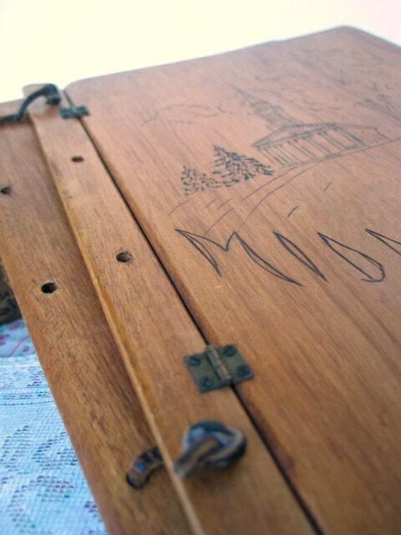 Wood Cover Cookbook : Vintage wood journal hinged book cover scrapbooking