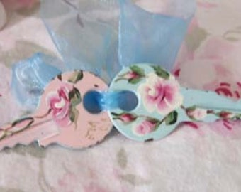 Spring, cottage chic, pink, blue, hand painted roses,keys, HP roses,