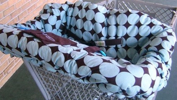 Shopping Cart Cover - Blue Disco Dot Reversible - Fits Restaurant High Chairs, Park Swings and ALL Carts