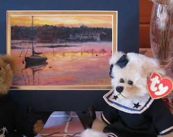 Matted and framed oil: Boothbay from Connie's House