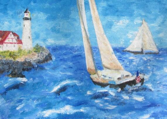 Sailing toward Portland Headlight acrylic painting