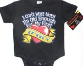 nwt black infant bodysuit or toddler tee of wording I cant wait for my first tattoo