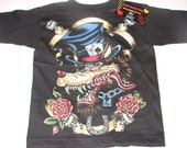 nwt black toddler tee of rockabilly wolf with cards