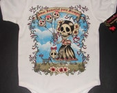 NWT white infant bodysuit or toddler tee of a girl of day of the dead with wording amor para siempre