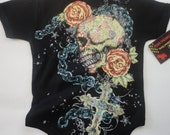 NWT black bodysuit or kids tee of day of the dead with chain in all sizes