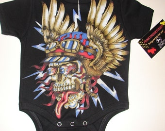 nwt black bodysuit or toddler tee of a wicked racing skull