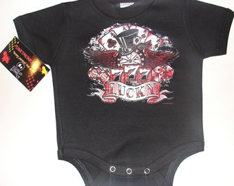 Nwt black bodysuit or toddler tee of a rockabilly look lucky 777