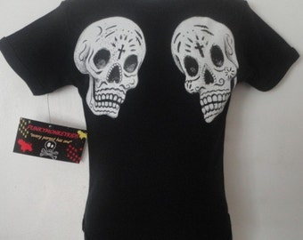 NWT black two day of the dead skulls for infant bodysuits and kids tees