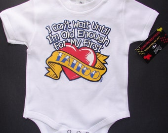 nwt white infant bodysuit or toddler tee of I cant wait for my first tattoo