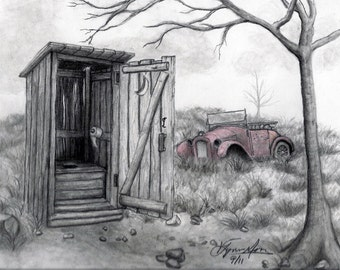 Drawing Of Outhouses Etsy