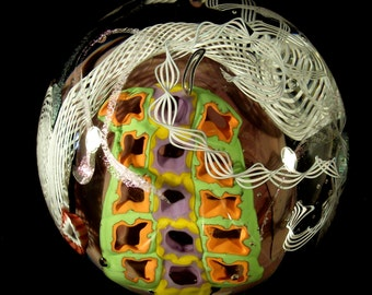 GIANT Murrini latticino Blown Paperweight - Mentuck Art Glass FREE SHIPPING