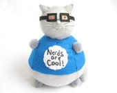 Nerdy cat, Cat pincushion, Cute felt cat, Gray cat, Gifts for nerd, Gift for cat lover, Cat in glasses, Nerds are cool, Geeky gifts, MTO