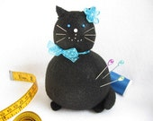 Black Felt Fat Cat Pincushion with Blue Bow - cute felt kitty cat collectable or Gift for cat lover Gift for sewer - Rose - MTO