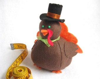 Cute Turkey Pincushion - Orange - cute felt turkey - Fall Thanksgiving collectable - Thanksgiving decor Gift for turkey lover - Tommy - MTO