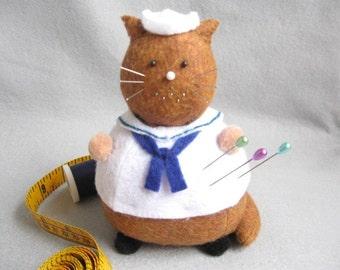 Cute Sailor Cat Pincushion - Felt Animal Pin Cushion - cute felt kitty cat collectable - Gift for sailor - Gift for cat lover - MTO