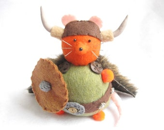 Viking Rat Pincushion - Funny Pincushion Rat - Felt Viking - cute felt rat mouse collectable - Gift for animal lover - Olav the Orange - MTO