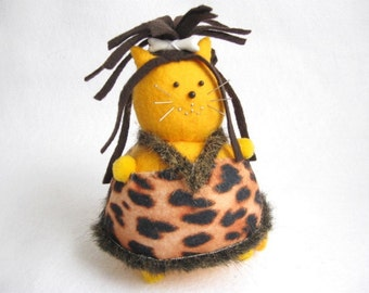 Cute Cave Girl Fat Cat Pincushion - Funny Fat Cat - Felt Cave Girl Cat - cute felt kitty cat collectable Gift for cat lover - MTO