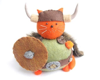 Viking cat, Felt pincushion, Cute orange cat, Viking warrior cat, Soft sculpture, Stuffed cat, Viking decor, Animal lover, Funny cat gifts