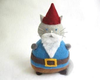 Cute felt gnome, Animal pincushion, Cat pincushion, Woodland gnome, Cat lover gift, Gnome collectible, Bearded gnome doll, Mythical creature