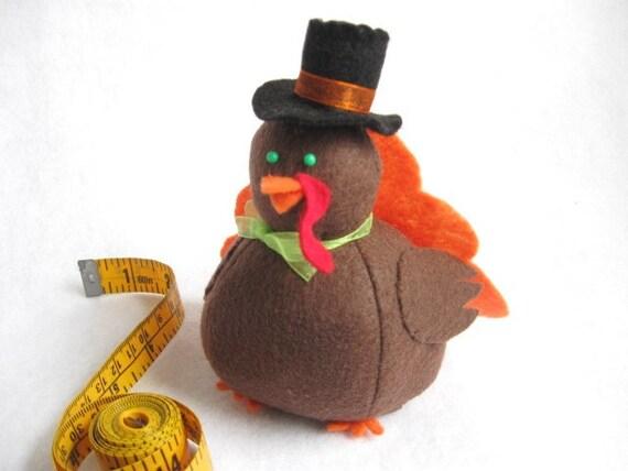 Cute Turkey Pincushion - Orange - cute felt turkey - Fall Thanksgiving collectable - Thanksgiving decor Gift for turkey lover - MTO