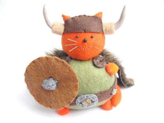 Viking Cat, Cute cat pin cushion, Orange cat, Warrior cat, Cat soft sculpture, Stuffed felt cat, Viking decor, Animal pincushion, MTO