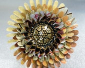 Yellow  Flower Brooch with Black and Metallic Gold Floral Center