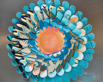 Turquoise Blue Flower with Orange Center  from the Flower Brooches by Harriete Estel Berman