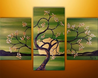 CUSTOM PAINTING Abstract Painting Abstract Modern Landscape Asian Zen Tree Art by Gabriela 36x24 Green Gold Original Abstract Painting