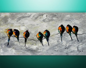 Abstract Painting, Art, Acrylic Painting, Large Painting, Birds On A Wire, Painting, Love Birds, Art, Wall Art, Wall Decor, Made To Order