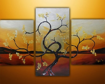 Abstract Painting, Original Painting, Landscape Painting, Asian Painting, Tree Painting, Wall Decor, Wall Art, Gold, Art, Made To Order
