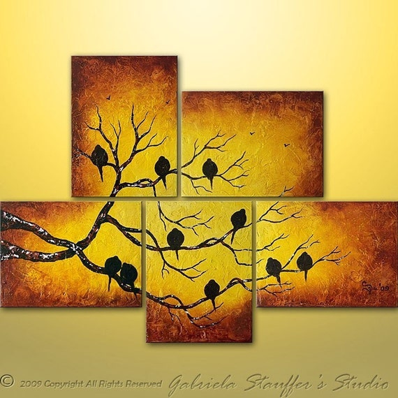 CUSTOM PAINTING Abstract Painting Abstract Birds Painting Tree Landscape Modern Art by Gabriela 44x32 Love Birds Original Painting Art